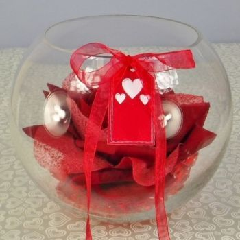 Valentines Silk Rose Head in a clear Glass Fish Bowl with Crystals