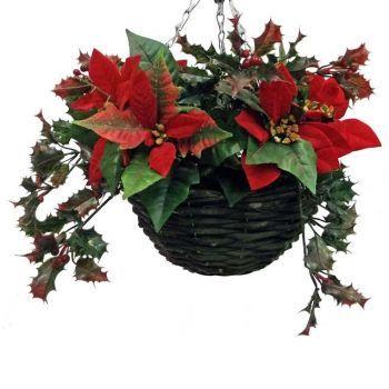 poinsettia hanging basket small - Christmas Hanging Baskets