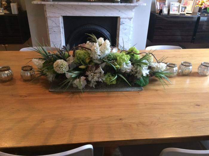Showing a Bespoke artificial Silk flower arrangement, including the Vanilla Grass, sent in by one of our customers