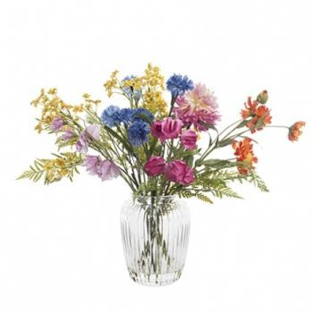 Mixed Flowers in Rib Vase