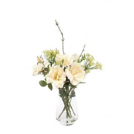 Artificial Silk Wild Rose Bishops Flower Vase Just Artificial