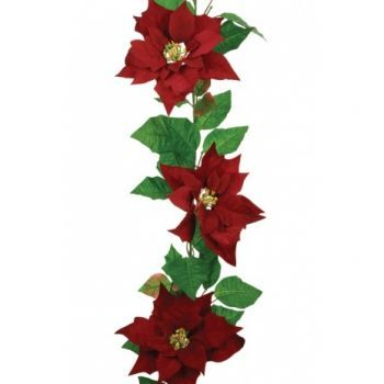 Poinsettia Velvet Garland x3 Saver Pack
