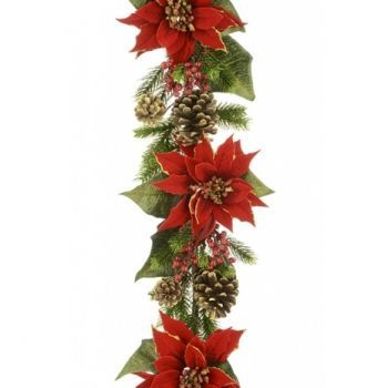 Luxury Poinsettia & Acorn Garland x2 Saver Pack