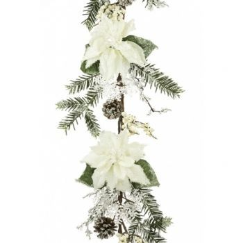 Iced Poinsettia Garland x2 Saver Pack