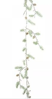Icy Pine Garland with Cones