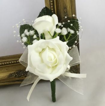 Double Rose Buttonhole with Pearl Loops and Gyp