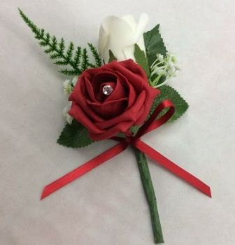 Double Rose Buttonhole with Gyp and Asparagus Fern