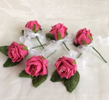 Open Rose Buttonhole (Pack of 6)