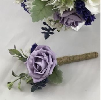 Open Foam Rose Buttonhole