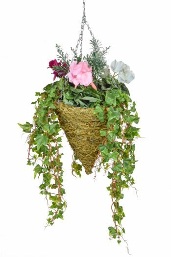 Cyclamen Mix & Ivy Cone Basket