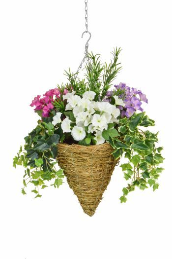 Petunia Mix & Ivy Cone Basket