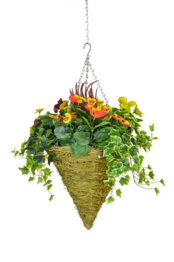 Pansy Mix & Ivy Cone Basket