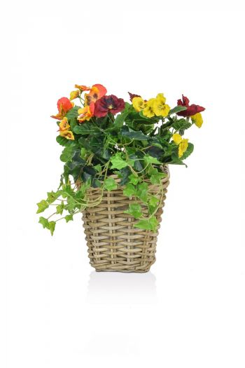 Pansy Mix Rattan Planter