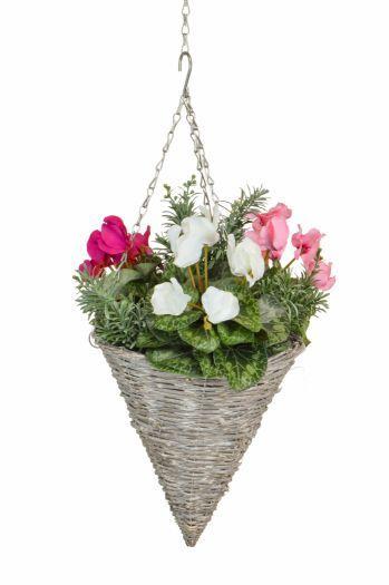 Cyclamen & Artemisa Cone Basket