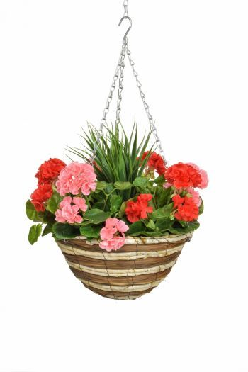 Geranium & Grass Medium Hanging Basket