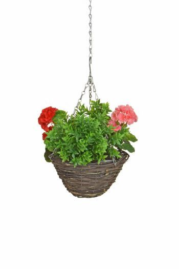 Geranium & Greenery Small Hanging Basket