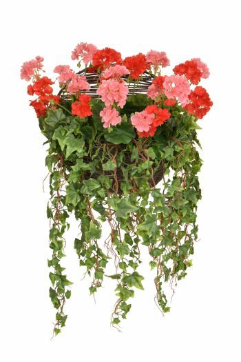 Geranium & Ivy Wall Basket