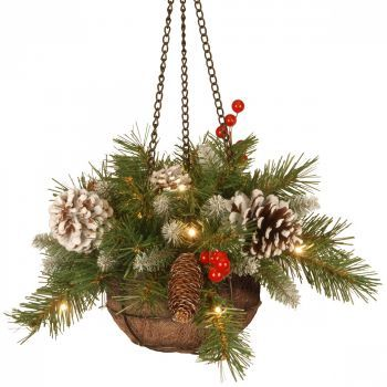 Frosted Berry Christmas Hanging Basket