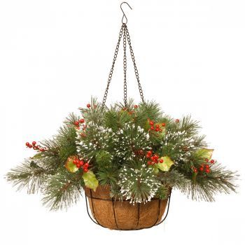 Wintry Pine Christmas Hanging Basket