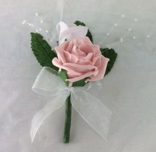 Double Rose Buttonhole with Pearl Sprays