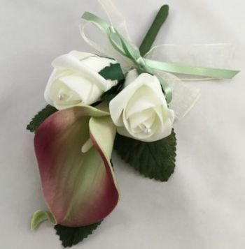 Triple Belinda Rose and Calla Lily Buttonhole