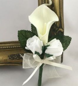 Juliet Calla Lily and Rose Bud Buttonhole