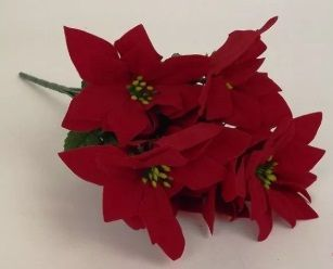Velvet Large Poinsettia Bush, 7 Headed