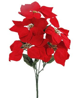Poinsettia Spray with Glitter Stamen, 5 Headed