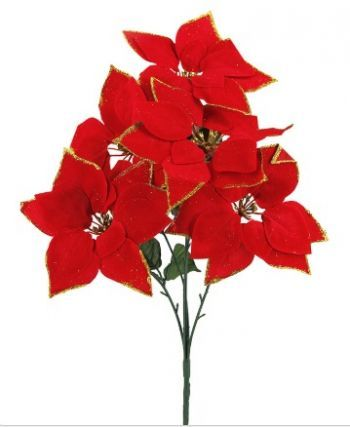 Poinsettia Spray with Glitter Stamen & Petal