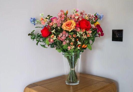 Artificial Silk Flame Roses Bouquet Arrangement Just Artificial