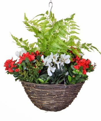 Ready Planted Rattan Winter Hanging Basket