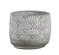 Fan Pattern Glazed Cement Cylinder Vase