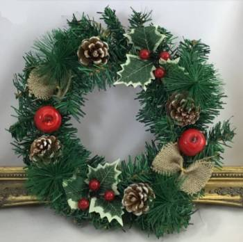 Spruce Wreath with Pinecones/Red Apples / Holly /with 2 Hessian Bows