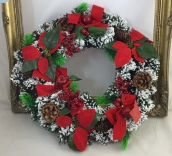 Snow Spruce Wreath with Poinsettias/Berries /Red Bows