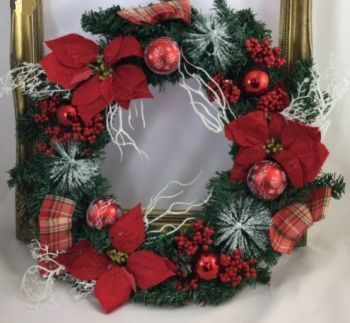 Spruce Wreath with Baubles/Red Poinsettias/Tartan Bows