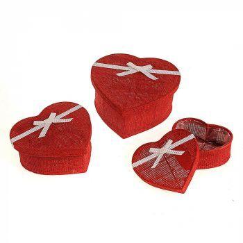 Flower Box Jute Heart Red Set Of 3