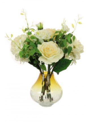 Rose & Hydrangea In Crackle Bulbous Vase