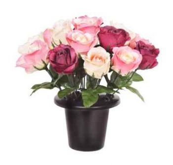 Open Rose Arrangement Cemetery Pot