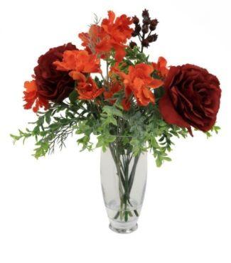 Poppy Rose in Hurricane Vase Arrangement