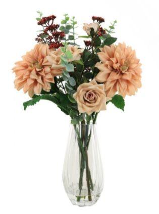 Mixed Dahlia In Barrell Vase Arrangement