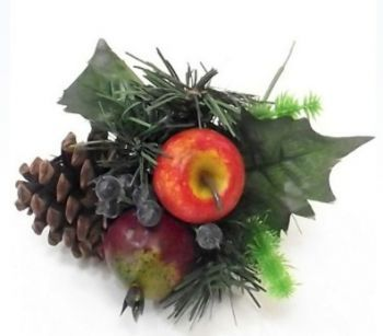 Fruit/ Pinecone Christmas Pick Natural