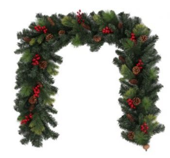 Spruce Garland with Pinecones and Berries