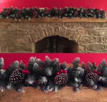 Frosted Spruce Garland with Pine Cones and Berries