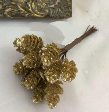 Small Glitter Pine Cones (Bunch 12)