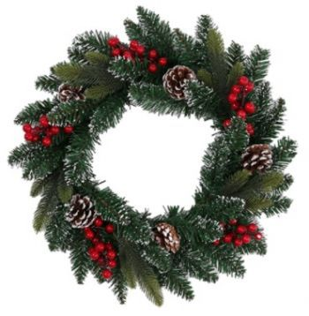 Frosted Snow Spruce Wreath with Pinecones / Berries