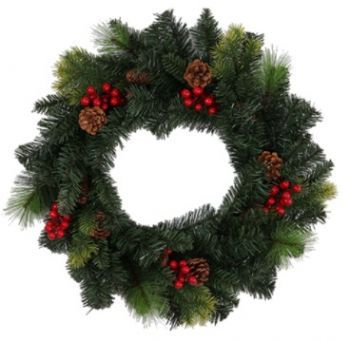 Snow Spruce Wreath with Pinecones / Berries