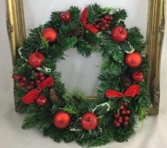 Spruce Wreath with Baubles/Red Apples / Red Velvet Bows